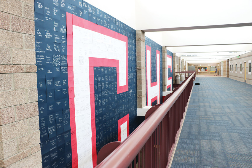 "During second semester last school year at Chaparral High School in Parker, students were asked to write a positive aspect of their lives on a sheet of paper. Hundreds of sheets of paper with names of friends, sports, family members and mentors were hung in the formation of a giant floor-to-ceiling ""CHS"" in the lobby of the high school. The project was part of a suicide-prevention program called Sources of Strength."