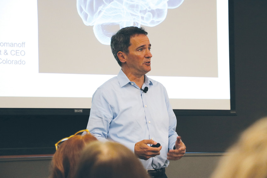 "Andrew Romanoff, president and CEO of Mental Health Colorado, speaks at the first Time to Talk community mental health forum at Lone Tree Library in April. ""In some ways, I think we are at war here,"" Romanoff said of the country's high suicide rate. ""It's just not a war we have declared, but it's a war we can win."""