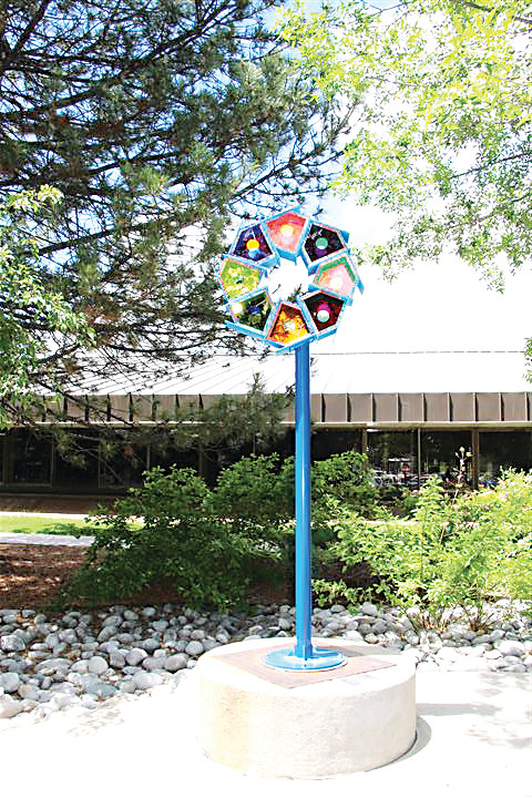 """Air B&B"" by Patricia Aaron is among recent Art-on-Loan sculptures chosen by the South Suburban Public Art Committee. Ii is located outside the entrance to the Goodson Center."