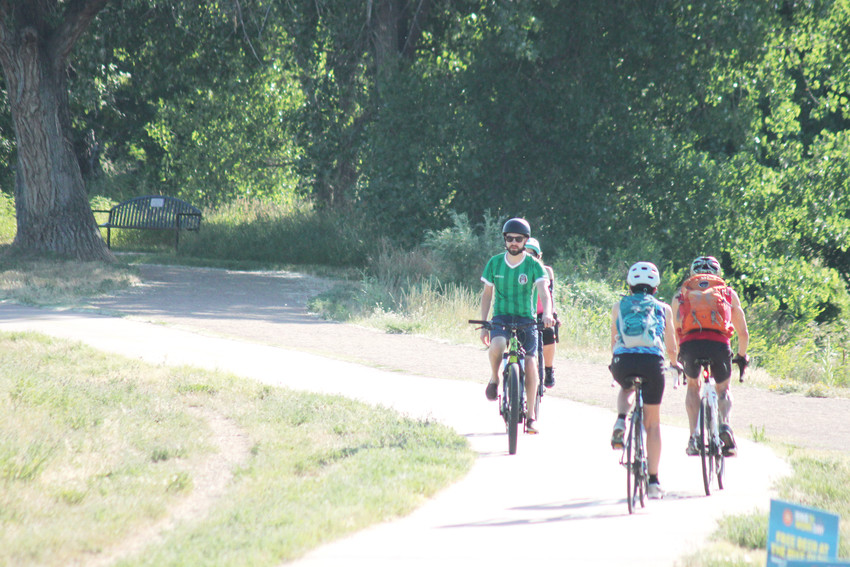 Riders navigate what amounts to a traffic jam on the Mary Carter Grenway Trail.