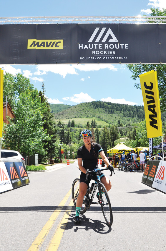 Rebecca Gross, 37, pauses for a photo at the Stage 2 finish of the 2018 Mavic Haute Route Rockies on June 25 in Avon. The event began on June 23 in Boulder and participants will ride about 500 miles throughout the state, ending with a Pikes Peak climb on June 29.