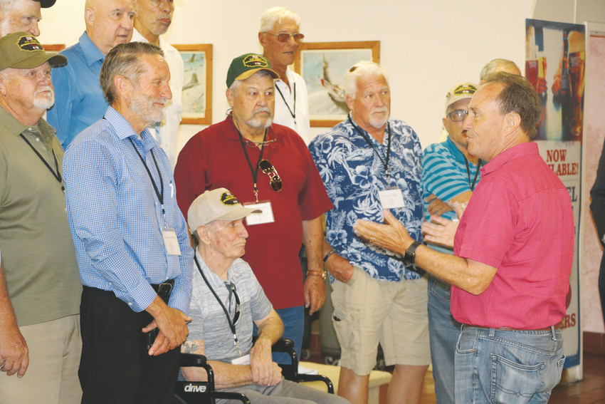 Congressman Ed Perlmutter speaks with members of the Jeffco Platoon at a lunch event at the American Legion on June 30.