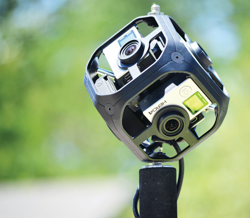 This Go-Pro Omni camera, designed to collect 360 degree panoramic photographs, is part of the 30-pound array environmental engineering graduate student Duke Douglas will wear on his back for the next month as we walks the creeks, canals and drainages across the City of Westminster, part of a city water quality monitoring project.