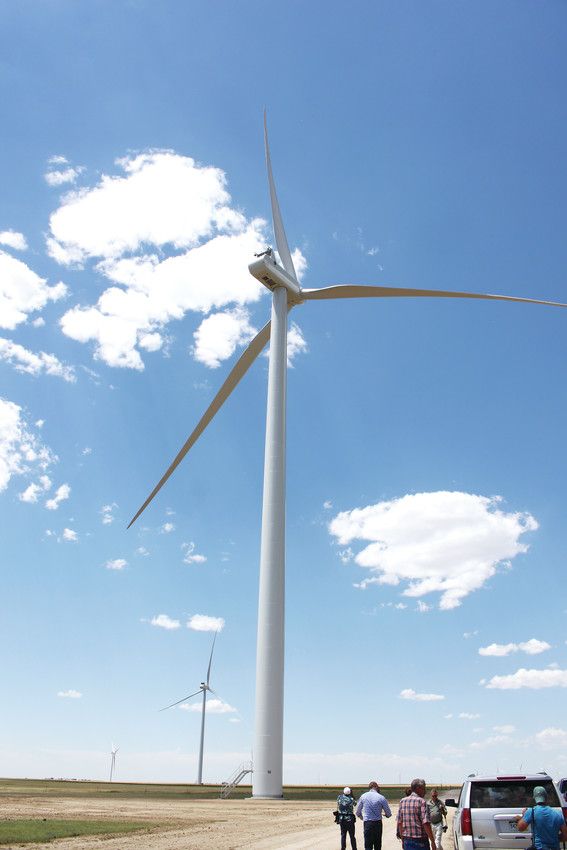 Representatives from Xcel Energy lead a tour of the Rush Creek Wind Farm in Matheson.