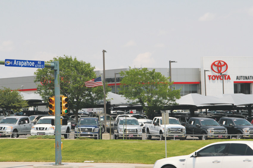 One of several car dealerships that line East Arapahoe Road in central Centennial, July 5. The city is considering allowing for new dealerships on the major street.