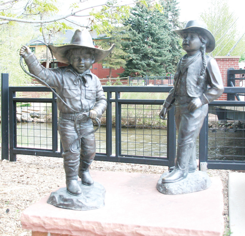 "The bronze statue, ""Brother and Sister at the Rodeo,"" located at the south end of the Washington Avenue bridge, was donated to the city of Golden by the late Chuck Baroch and his wife Carol.  ""It is forever a reminder of their commitment to Golden,"" said Joy Brandt."