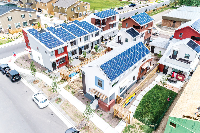 All homes in the Geos development run on solar power.