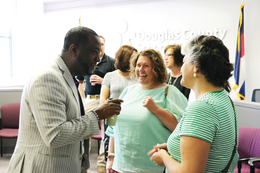 Thomas Tucker, the new superintendent of Douglas County School District, meets with staff and teachers on July 13 at the district's administrative building in Castle Rock. The next meet and greet will be with community members.