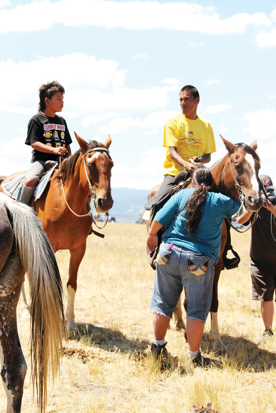Before the group took off, Priscilla hugged and prayed over the horses her son, Thomas, and boyfriend, Waylon, were riding in the 2018 Lakota Ride of Reconciliation.