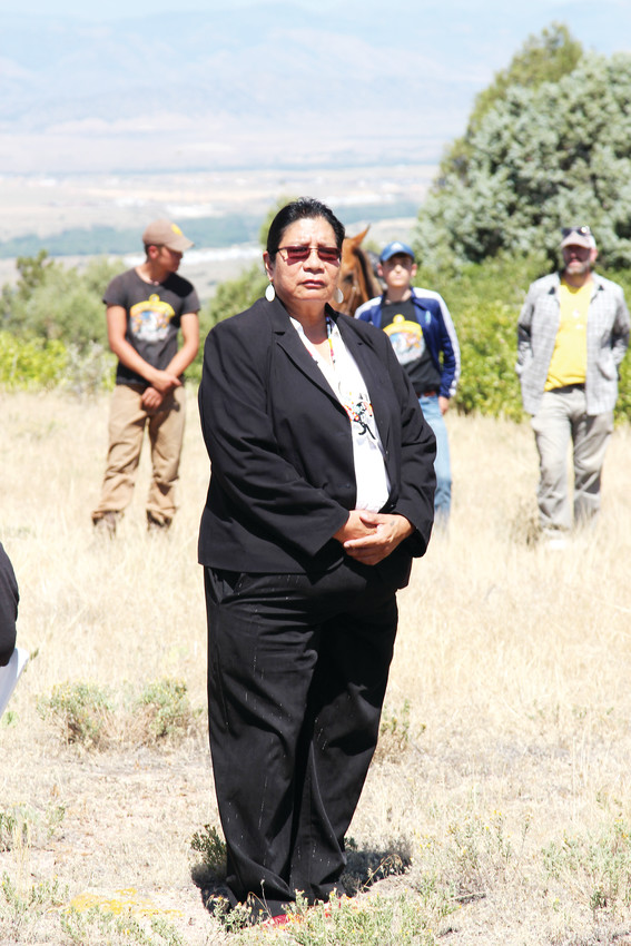 Darla Black, vice president of the Oglala Sioux Tribe, spoke to riders and volunteers as part of the opening ceremony.