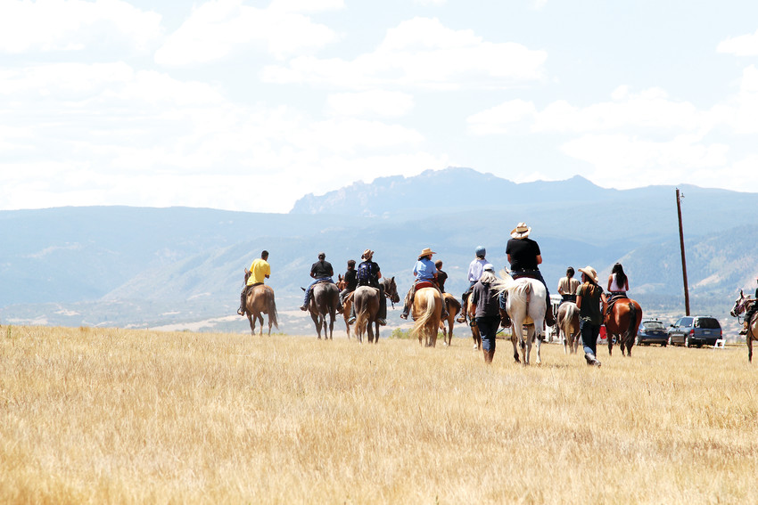 Lakota riders move together as a group for the first time in the 2018 Lakota Ride of Reconciliation. Roughly a dozen people rode in the first leg of the 400-mile trek, which starts along the Front Range and passes through four states.