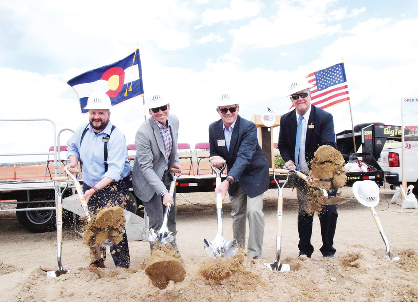 Dignitaries from the Cherry Creek School District and local municipalities celebrated at a groundbreaking ceremony May 10 for the upcoming Cherry Creek Innovation Campus at 8000 S. Chambers Road. From left, Stewart Meek, economic-development specialist for Centennial; Neil Marciniak, economic-development director for Centennial; Centennial City Councilmember Mike Sutherland; and Harry Bull, retiring superintendent for Cherry Creek Schools.