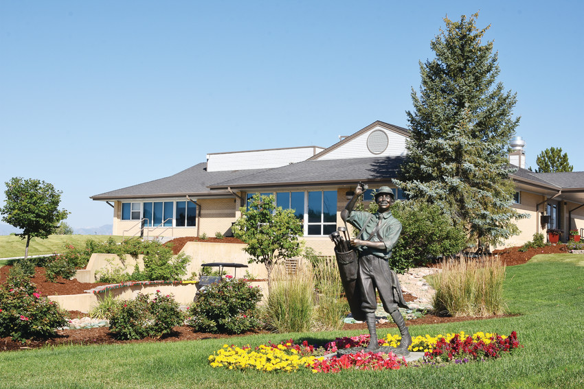 A statue of a golfer from an earlier era is featured in front of the redesigned club house at Thorncreek Golf Course at North Washington Street and East 136th Avenue in Thornton. The city-owned facility will formally reopen July 22 after nearly two years of reconstruction.
