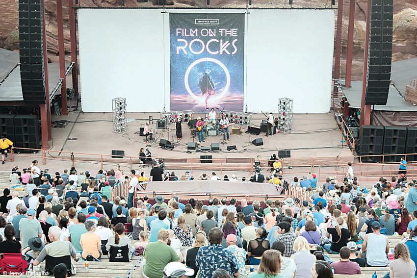 Attendees at the Denver Film Society's annual Film on the Rocks series enjoy some local live music before a movie showing.