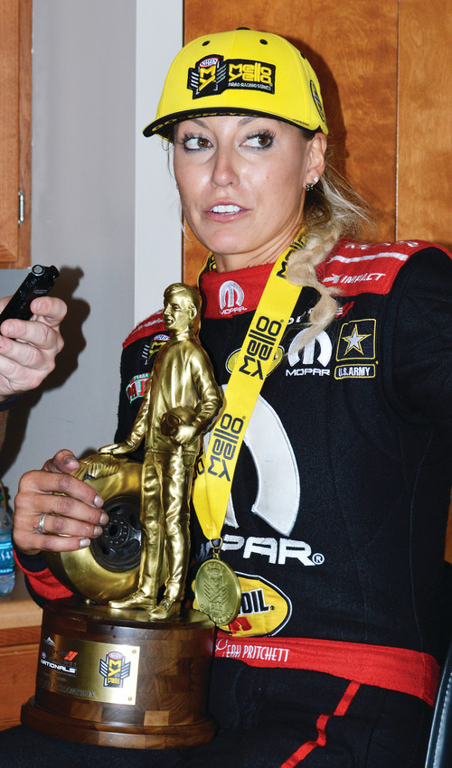 Leah Pritchett was the first top qualifier to win in the finals at Bandimere since 2009 when she captured the top fuel finals at the Dodge Mile High Nationals on July 22.