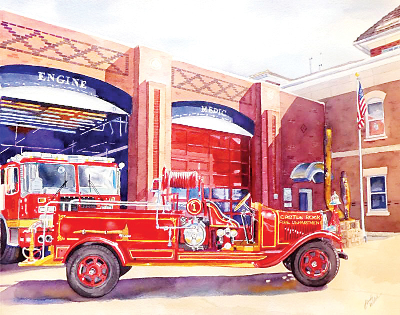 Castle Rock artist Cindy Welch introduced a new painting honoring the local fire department.