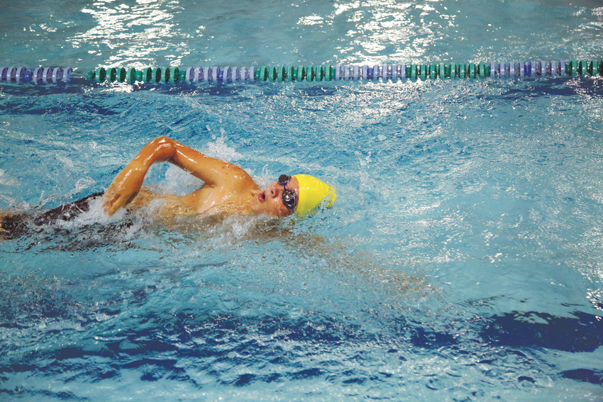Jackson Dark swims during the first heat of the Apex Kids' TRYathlon held July 29 at Apex Center in Arvada.