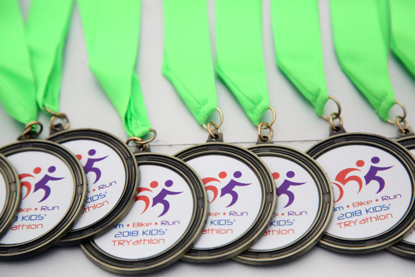 Each kid to cross the finish line received a medal.