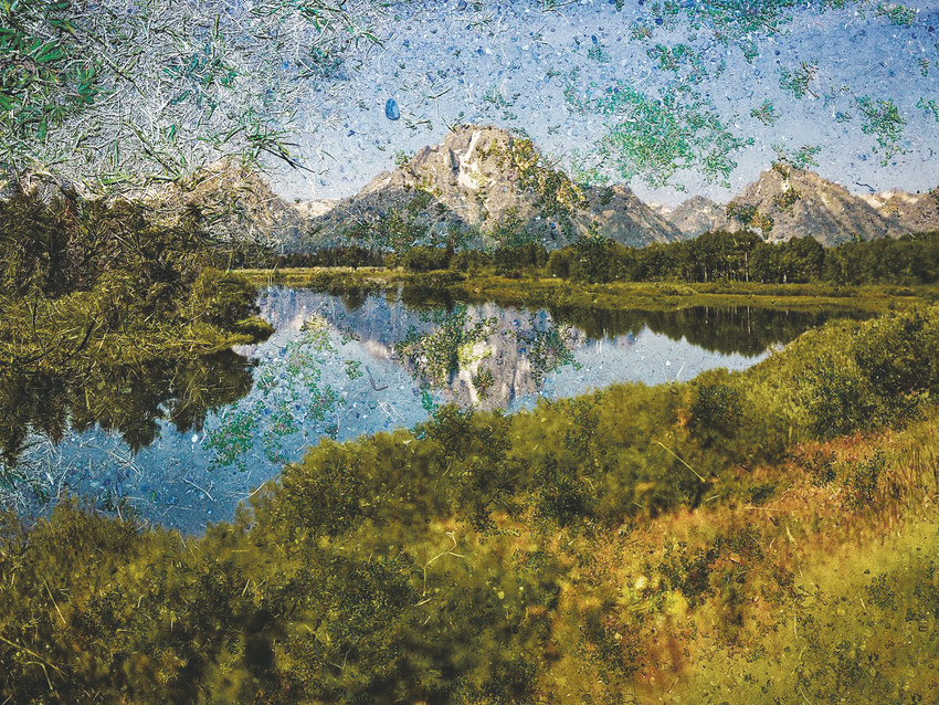 "Abelardo Morell's tent camera image on the ground of ""Mt. Moran and the Snake River from Oxbow Bend. Grand Teton National Park"" Wyoming 2011, is in ""New Territory: Landscape Photography Today"" at the Denver Art Museum."