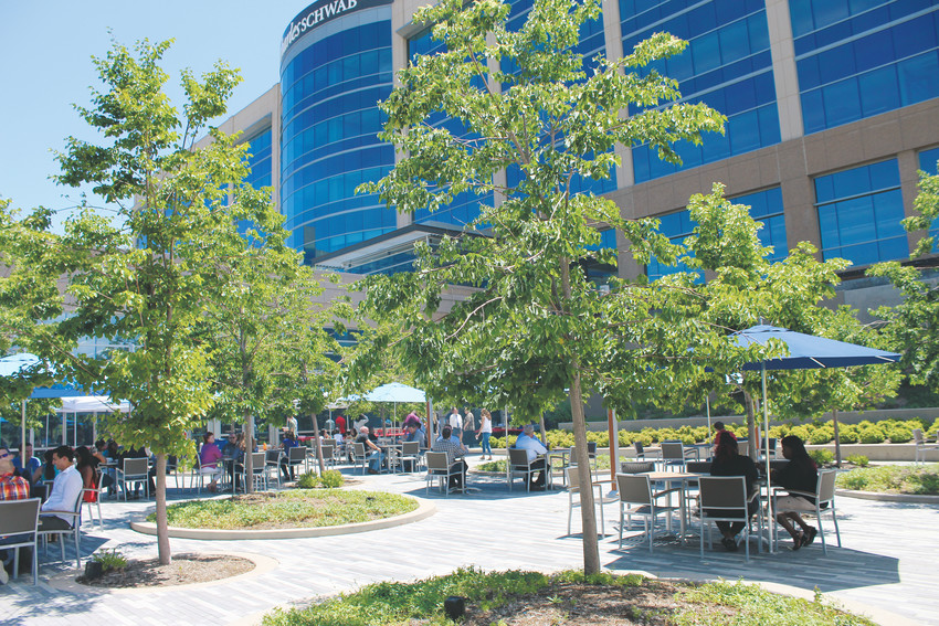 Employees eat lunch on the patio outside the Charles Schwab cafeteria July 13. The cafeteria and the patio area are open to the public and are part of the firm's initiative to integrate the community onto its campus.