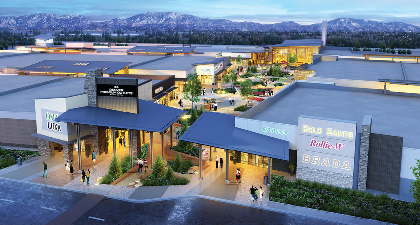 An architectural rendering shows how the Denver Premium Outlet will look from the east side looking down the open arcade towards the food pavilion on the west side. The new mall is scheduled to open Sept. 27.