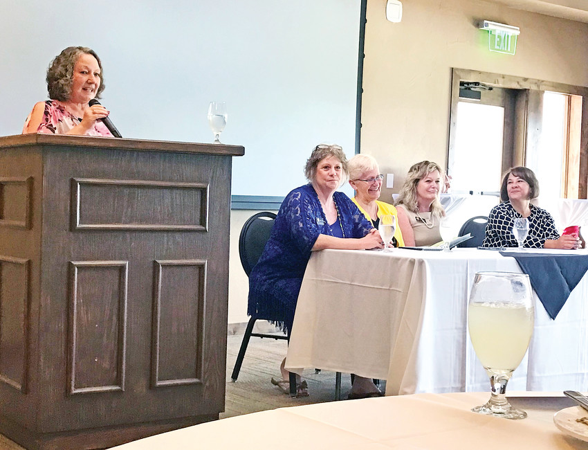 From the left, Joni Inman, Cheri Jahn, Nancy McNally, Tracy Kraft-Tharp and Libby Szabo discuss what have been some of the most challenging and rewarding moments during their careers in public office.