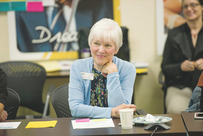 Pam Nissler smiles as she listens to her colleagues during a planning meeting in August 2017. Nissler joined the Jefferson County Public Library (JCPL) in 2009 and became executive director in 2011. However, during the course of nearly 50 years, Nissler spent about 40 serving Denver-area libraries in a variety of managerial and directorial roles.