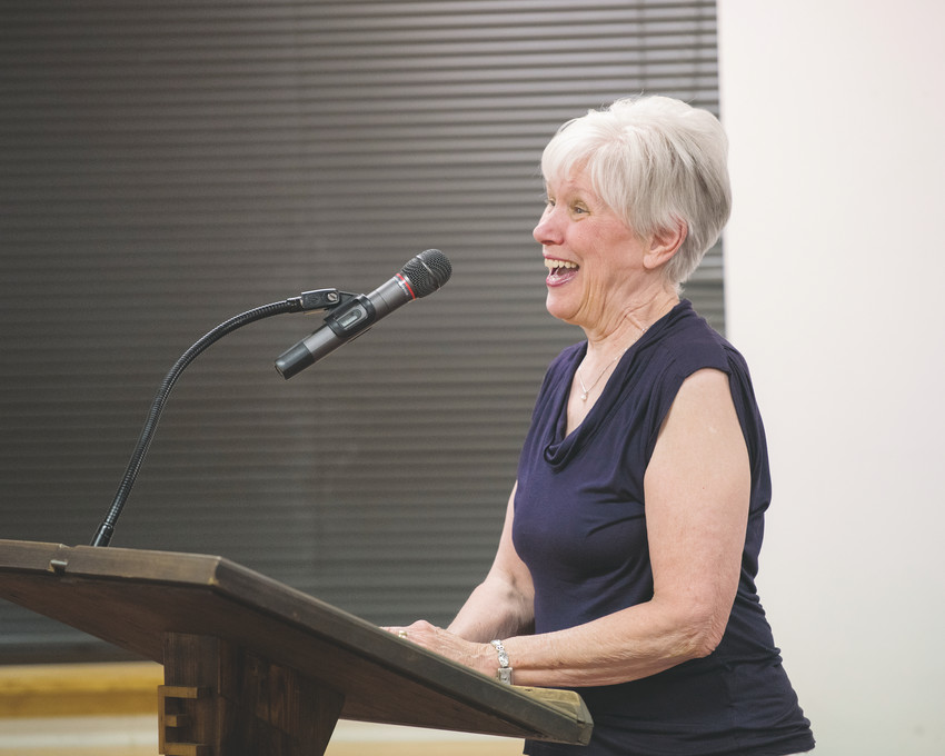 Pam Nissler speaks at an Edgewood City Council meeting in April 2017. Nissler is retiring as executive director of the Jefferson County Public Library (JCPL) on Aug. 31, and one of her accomplishments was partnering with the city of Edgewater to build a 10,000-square-foot library as part of the city's new Civic Center.