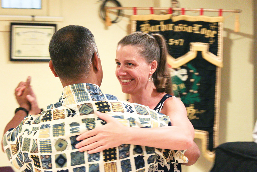 Tango depends on the connection between dance partners. This pair danced together during an intermediate lesson at Tango Colorado.