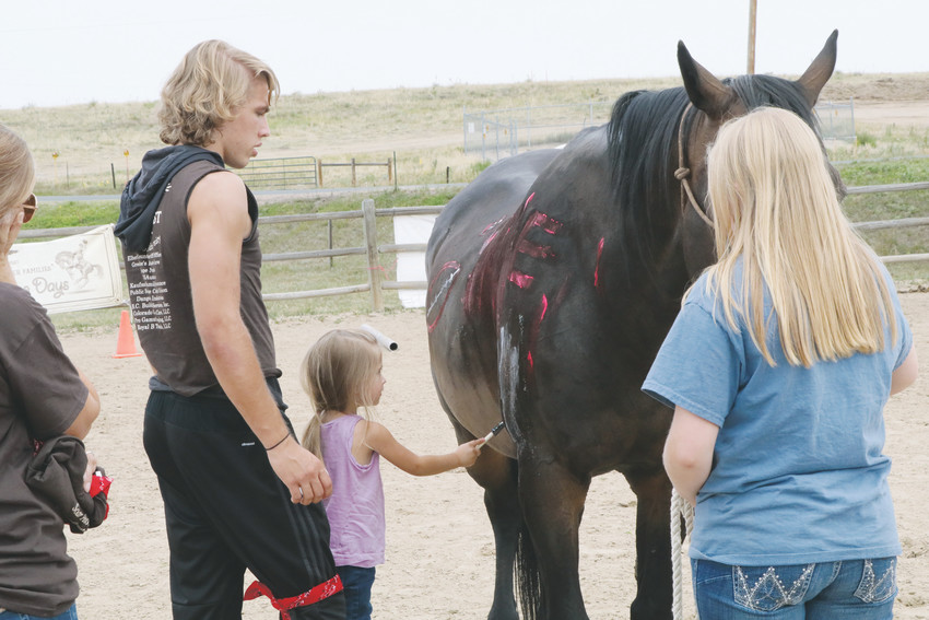 Mattie Hatchcock paints a horse during the Aug. 1 Buckaroo Day at Eagle's Nest Ranch. Buckaroo Day is focused on providing a time for first responders, veterans and their families to spend time with horses at the equine therapy ranch.