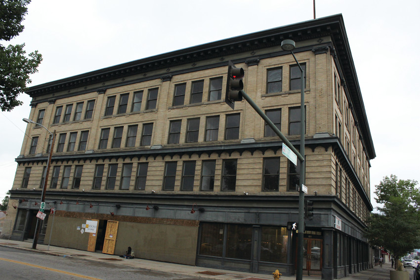 The former hotel space at 101 Broadway is being rebuilt into affordable housing units. Plans for the historic building were approved by the city in June.