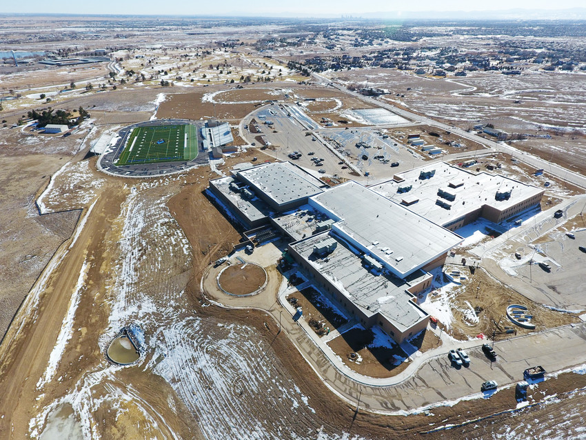 A drone's eye view shot from last winter shows the outline of Thornton's new Riverdale Ridge High School, parking and the athletic fields. Student orientations are scheduled to begin Aug. 9 and 10 and classes begin Aug. 14.