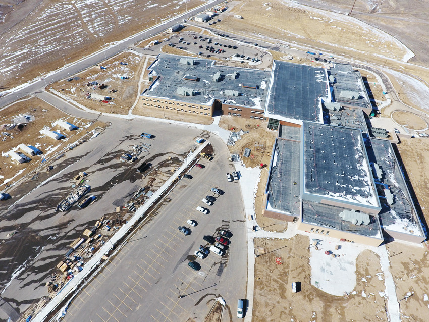 A drone's eye view shot from last winter shows the outline of Thornton's new Riverdale Ridge High School. Officials from Adams County School District 27J cut the ribbon on the school Aug. 7 and student orientations are scheduled to begin Aug. 9 and 10. It will house ninth and tenth grade students as well as six, seventh and eighth graders from Quist Middle School, which is currently being built across Yosemite Street from the high school.