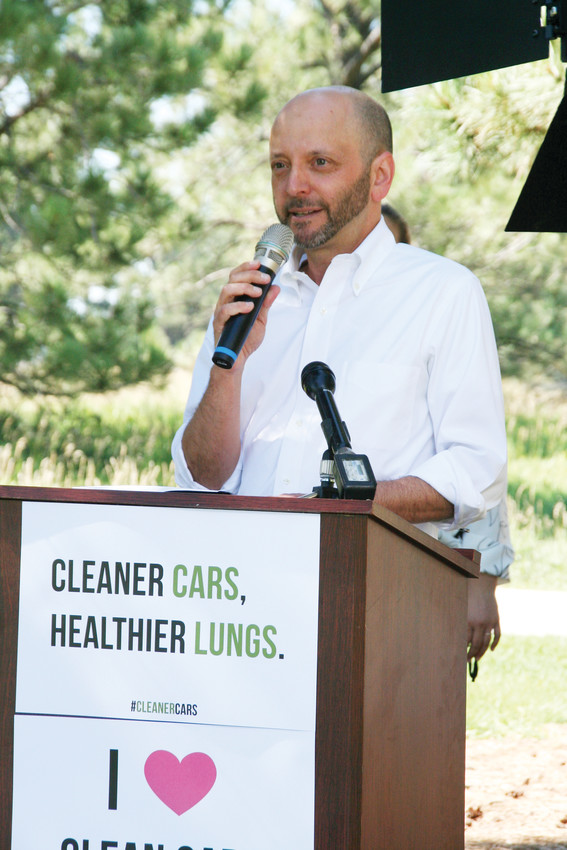 Jacob Smith, executive director of Colorado Communities for Climate Action, speaks in opposition of the Trump administration's rollback of clean car standards at a July 31 press conference in Lakewood.