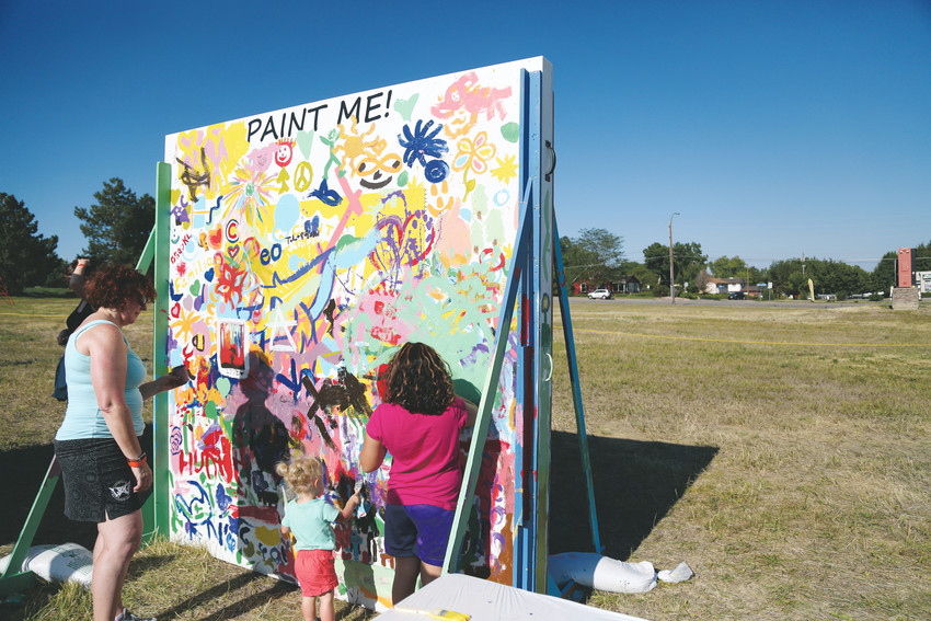 Aspiring young artists had the chance to paint at the event held in the sculpture field.