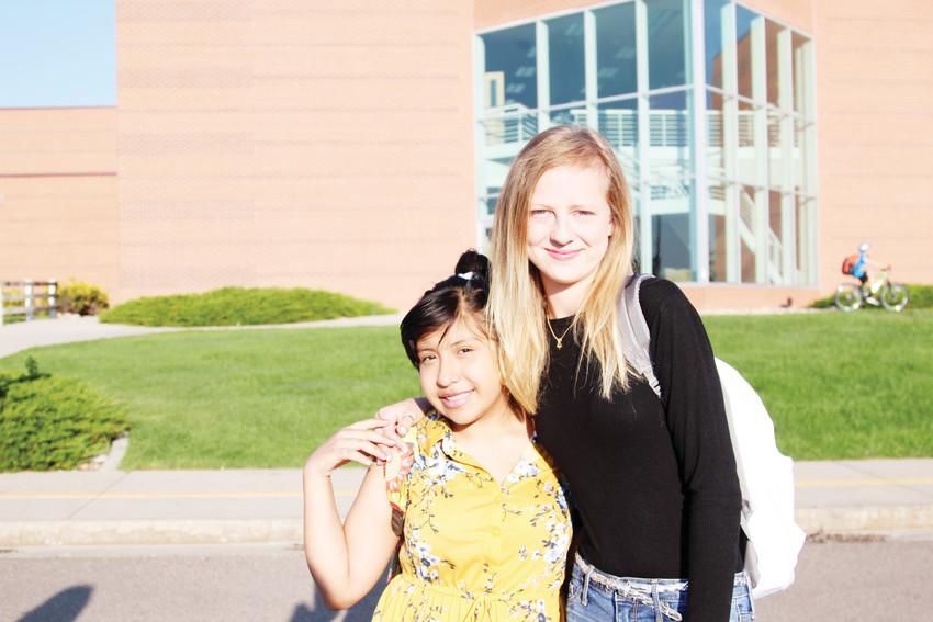 Samantha Dena, 13, and Olivia Duffy, 13, were ready to start eighth grade on Aug. 9 at Castle Rock Middle School.