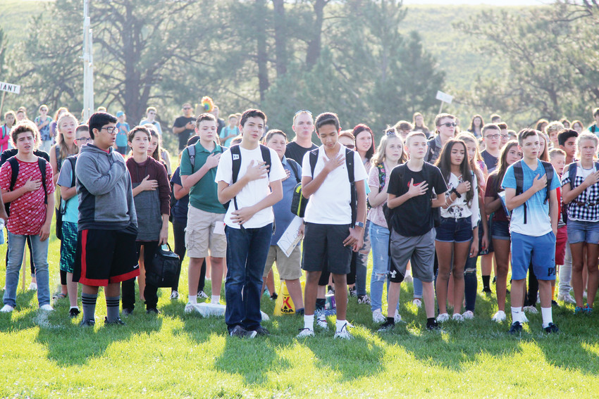 Castle Rock Middle School students started the school day with the the Pledge of Allegiance.