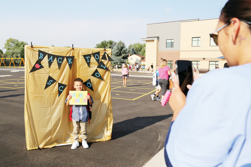 Nasyn Palato-Grady poses for a photo on his first day of kindergarten at Sierra Elementary.