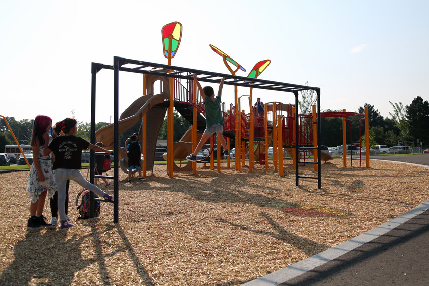 Two playgrounds, a track and an outdoor classroom are new to the school this year.