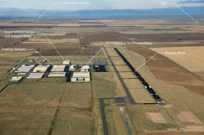 An annotated aerial view of the Front Range Airport in Watkins as it currently looks. An FAA license approval has cleared the way to convert the airport into Colorados first Spaceport.