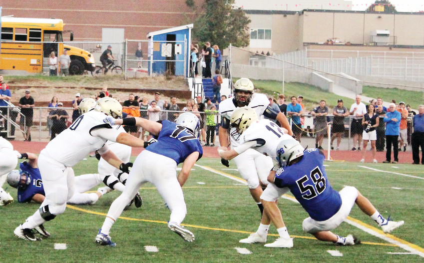 Broomfield senior Ryan Capasso records a sack against Legacy Aug. 24 in the teams' opener.