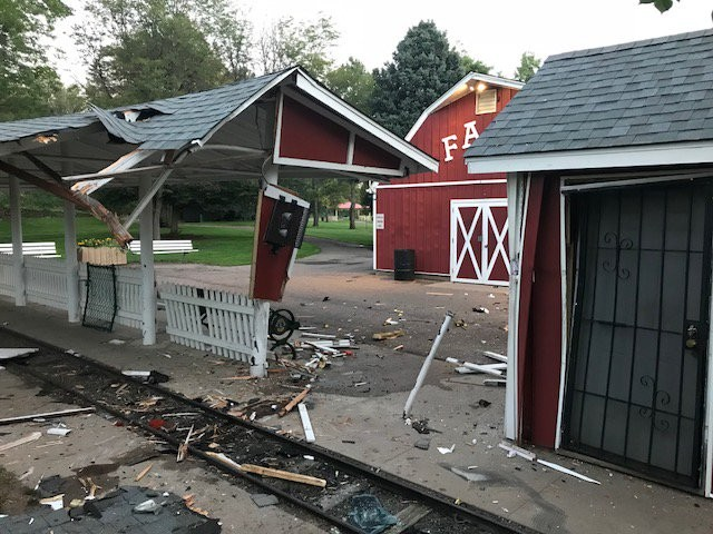 The children's farm and train station at Belleview Park after a car crashed through fencing and into the area at about 11 p.m. Aug. 28.
