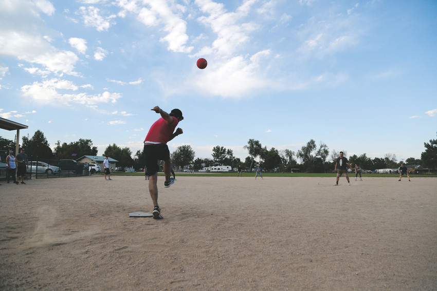 The Seasoned Professionals edged out the Arvada Young Professionals in the kickball game social held Aug. 29 at Arapahoe Park.
