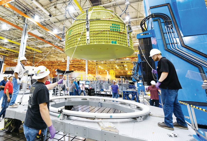 At the NASA Michoud Assembly Facility in Louisiana, Lockheed Martin technicians have completed construction of the first Orion capsule structure that will carry humans to deep space on Exploration Mission-2.