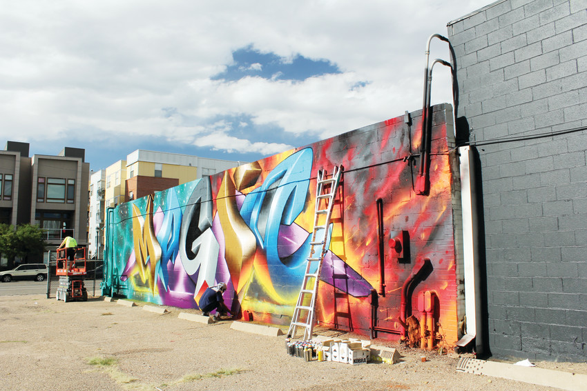 "Love Pusher created this mural which reads ""Magic"" in the 2017 Crush Walls event. Crush has been held in RiNo during September for the last eight years."