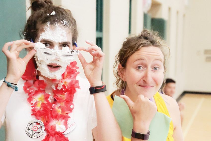Sarah Pomerantz, left, and Molly Cohn during the summer Camp Shai season at the Staenberg-Loup Jewish Community Center. Cohn chose Pomerantz as the camp counselor of the week and got to throw a pie in her face.