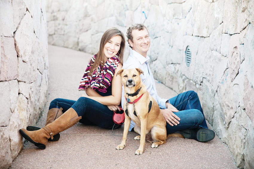 "Ryan Conover, pictured here with his wife Christie and their dog Ernie, first moved to Platt Park in 1998. He now runs ""What's Up in Platt Park,"" a local page dedicated to giving back and highlighting small business in the neighborhood."