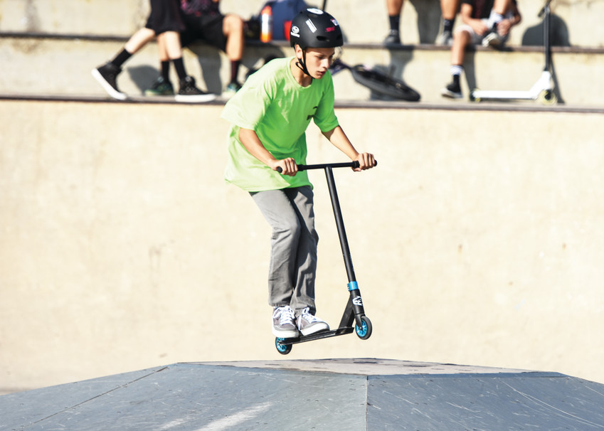 Brandon Sarabia, 13, of Thornton, practices his scooter moves just prior to the official Skatepark Competition, part of the 2017 Thornton Harvest Fest.