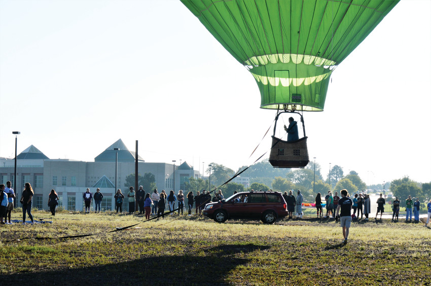"Daniel Griffin of Fort Collins pilots his hot air balloon ""Hareship"" up for a short tethered flight Aug. 29 at the Front Range Community College Westminster campus. Griffin's balloon was the main attraction as the college celebrated its 50th anniversary."