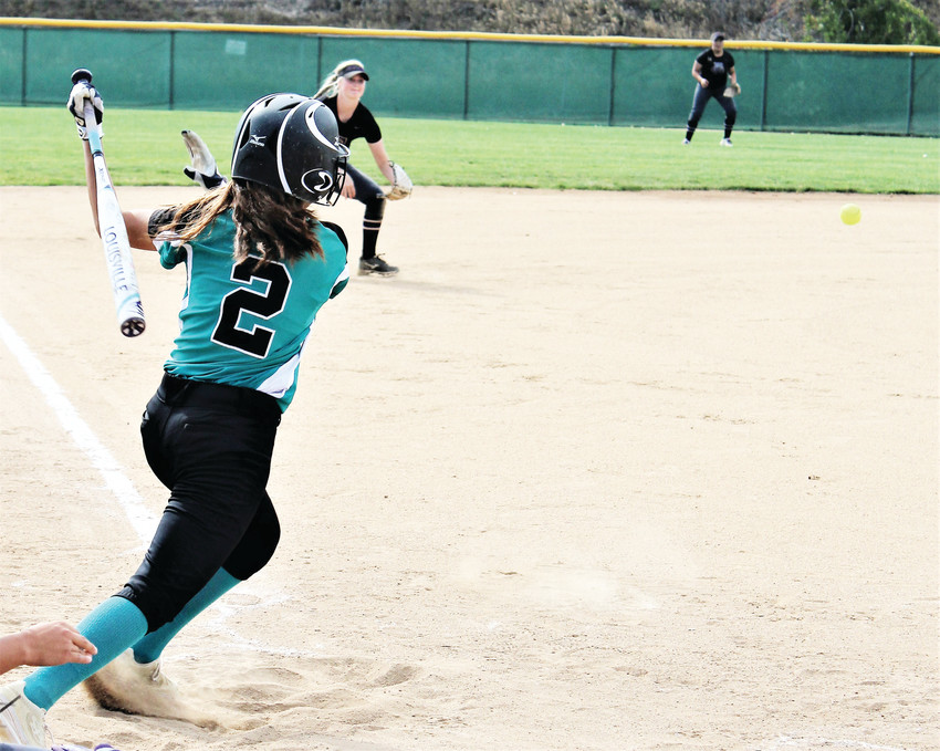 Westminster junior Aylin Baeza singles to left field Aug. 28 against Fort Collins.